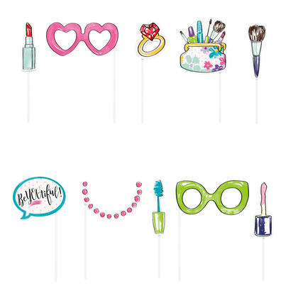 Spa Party Photo Booth Props, 10ct For Birthday Party