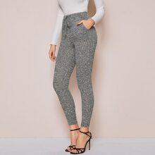 Tie Waist Rib-knit Marled Pants