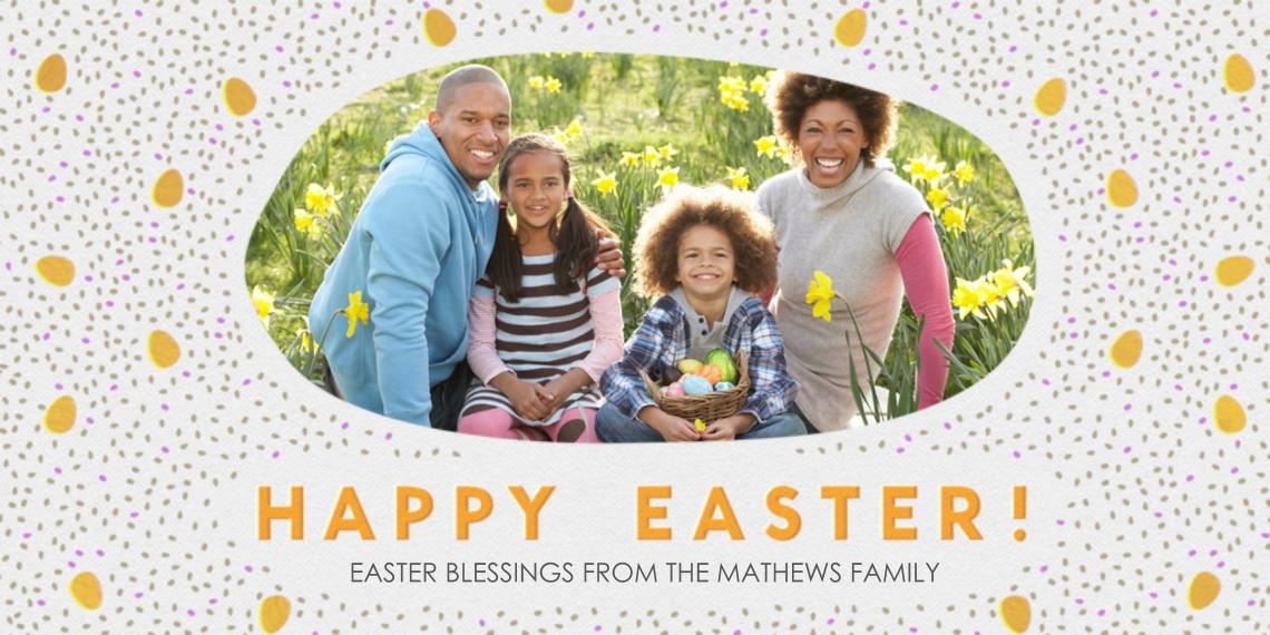 Easter Cards 4x8 Flat Card Set, 85lb, Card & Stationery -Easter Speckled Egg