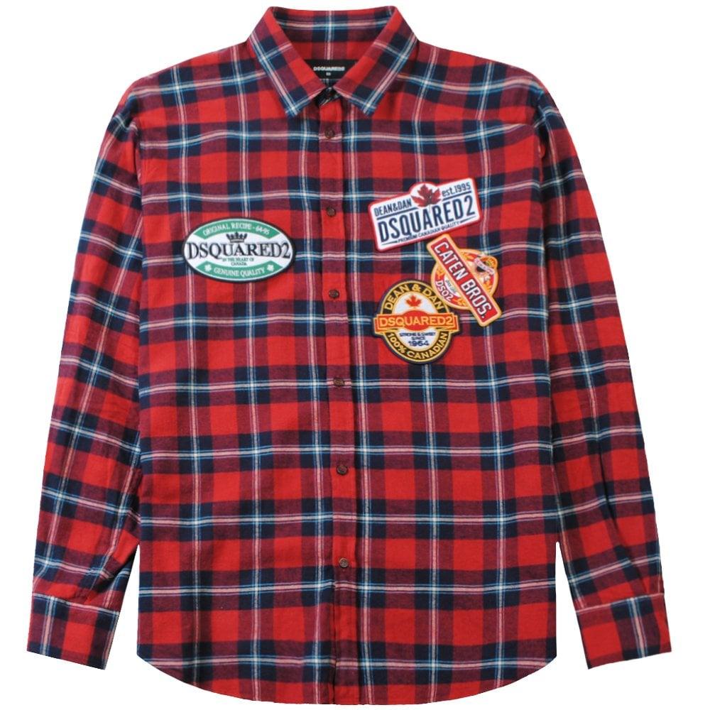 Dsquared2 Dsq2 Label Pattern Shirt Colour: RED, Size: MEDIUM