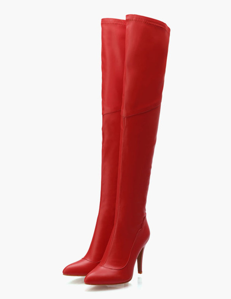 Milanoo Thigh High Boots Womens PU Leather Pointed Toe Stiletto Heel Over The Knee Boots