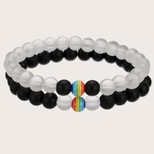 2pcs Guys Beaded Bracelet