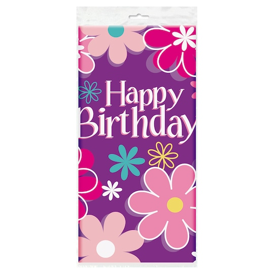 Plastic Blossom Birthday Party Table Cover, 84