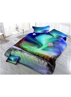 Aurora Scenery Wear-resistant Breathable High Quality 60s Cotton 4-Piece 3D Bedding Sets