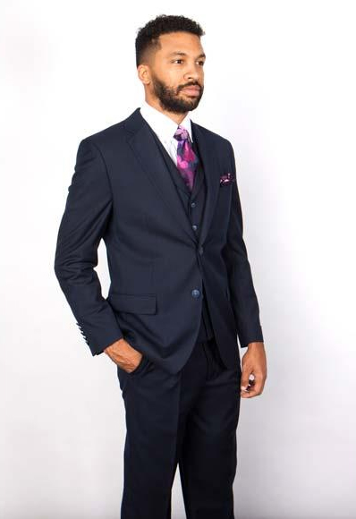 Men's Notch Lapel 2 Button Single Breasted 1 Wool Vested Suit Navy