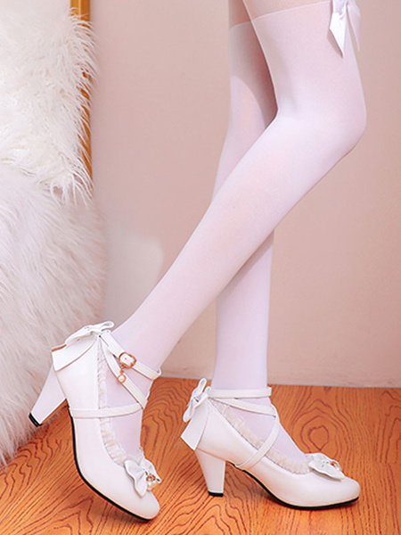 Milanoo Sweet Lolita Footwear Pink Ruffles Bows PU Leather Prism Heel Lolita Shoes