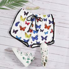 Tie Front Contrast Binding Butterfly Print Shorts
