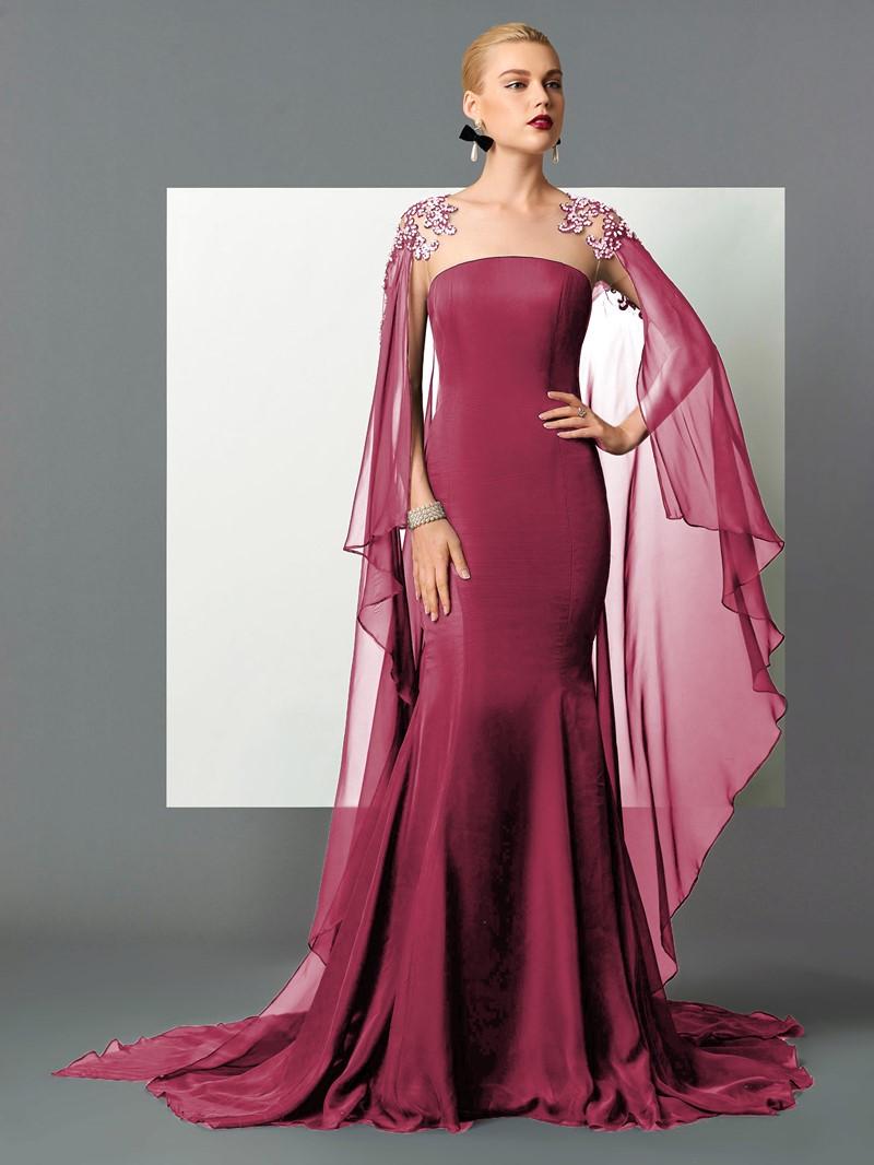 Ericdress Mermaid Scoop Beading Lace Watteau Train Evening Dress