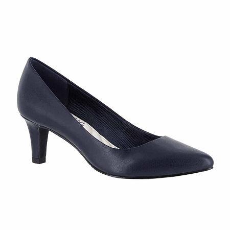 Easy Street Womens Pointe Pumps Spike Heel, 11 Medium, Blue