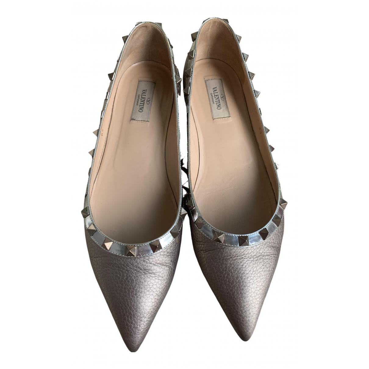 Valentino Garavani Rockstud Metallic Leather Ballet flats for Women 41 EU