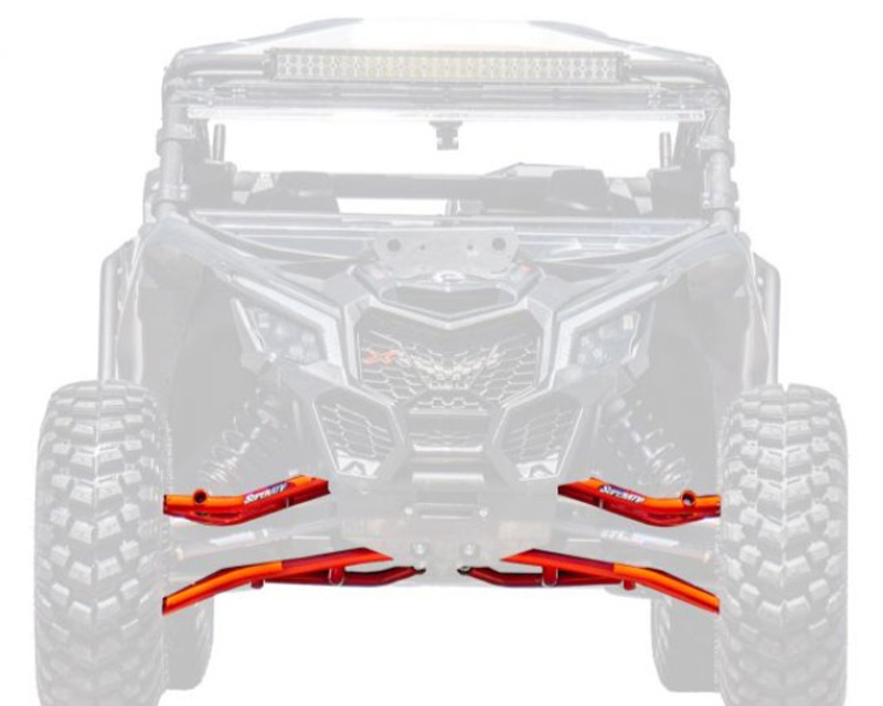 SuperATV AA-CA-X3-001-TU-BH-14 High Clearance Front A Arms w/Heavy Duty Ball Joints Red 64 Inch Wide Can-Am Maverick X3 900 2018+
