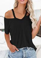 Cold Shoulder Short Sleeve Blouse - Black