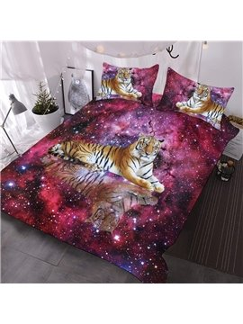 The Tiger In The Pink Galaxy Printed 3-Piece Comforter Sets