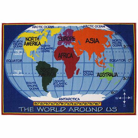 Kids World Map Rectangular Indoor Rugs, One Size , Blue