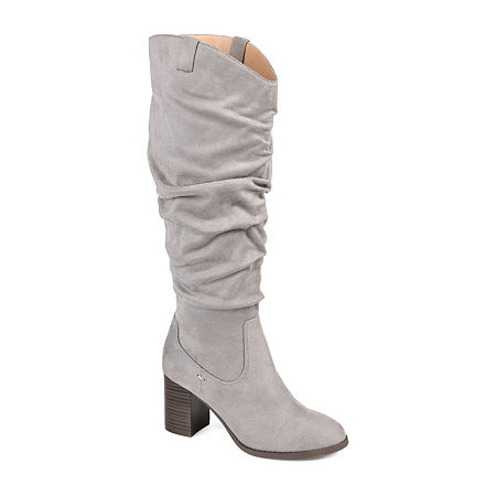 Journee Collection Womens Aneil Over the Knee Boots Stacked Heel, 6 1/2 Medium, Gray