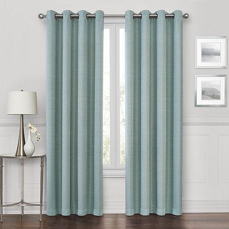 Maxx Blackout Prescott 100% Blackout Grommet-Top Single Curtain Panel, One Size , Blue