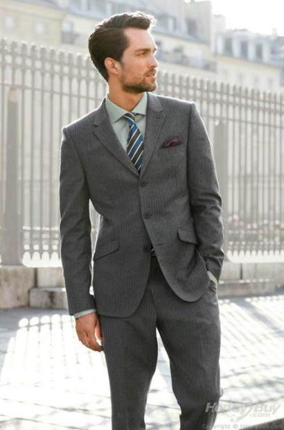 Mens Three Button Fitted Slim Fit Wool Suit Front Pants Side Navy Blue