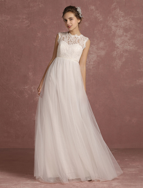 Milanoo Summer Wedding Dresses 2020 Lace Empire Waist Bridal Gown Illusion Sleeveless Round Neck A Line Floor Length Bridal Dress