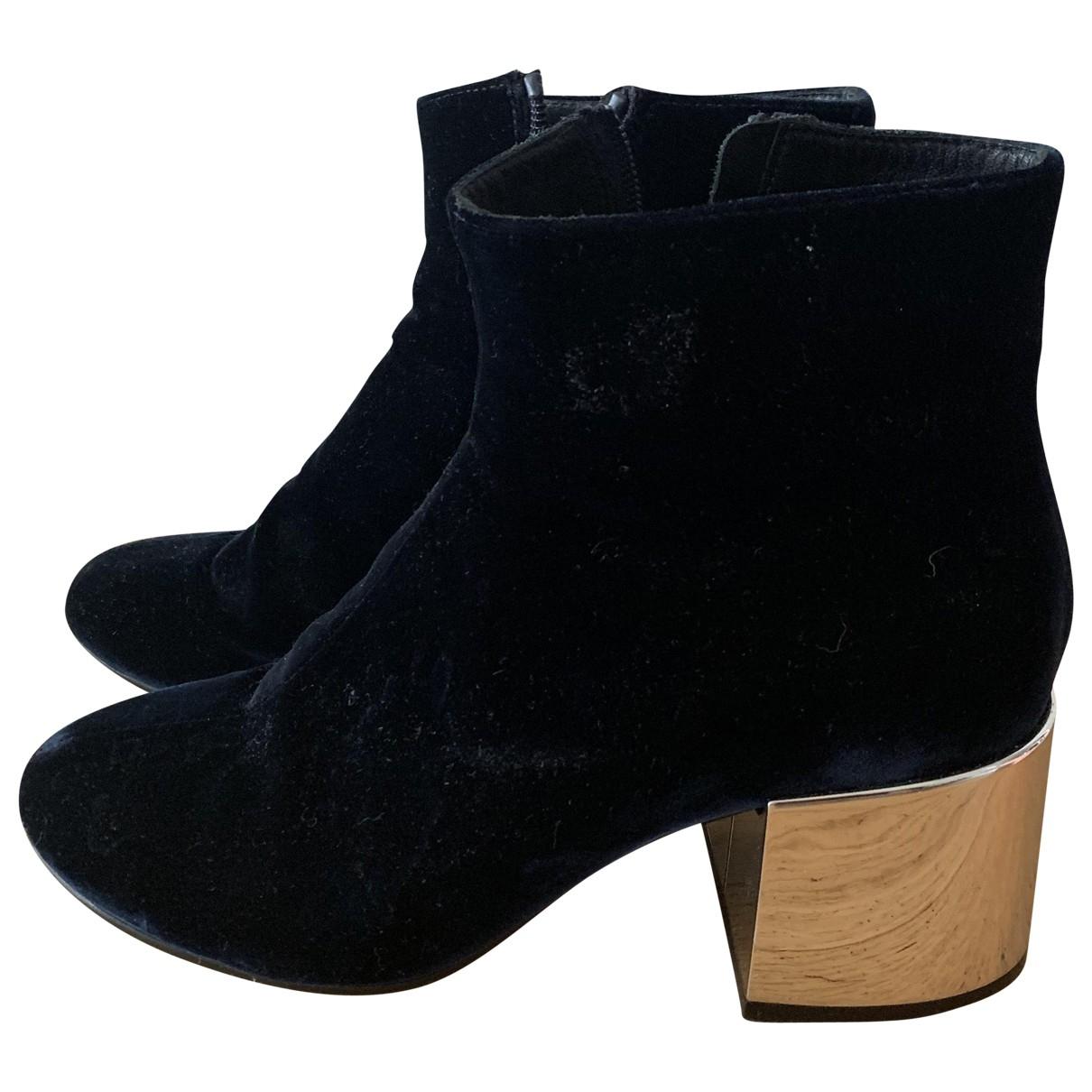 Mm6 \N Navy Velvet Ankle boots for Women 39 EU