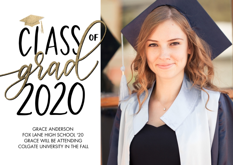2020 Graduation Announcements 5x7 Cards, Standard Cardstock 85lb, Card & Stationery -Class of Grad 2020