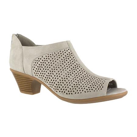 Easy Street Womens Steff Pumps Open Toe Block Heel, 8 1/2 Medium, Gray
