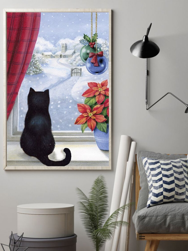Christmas Snowing Cats Canvas Painting Unframed Wall Art Canvas Living Room Home Decor