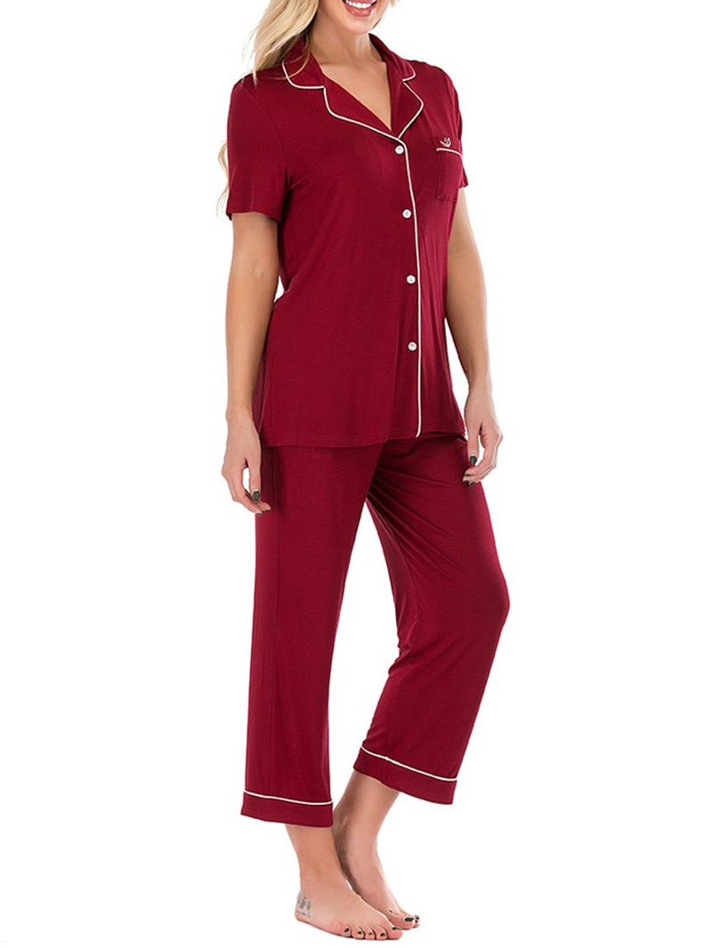 Ericdress Button Simple Polyester Regular Single-Breasted Pajama Suit
