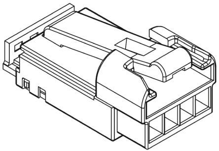 Molex , H-DAC 64 Female Connector Housing, 2.54mm Pitch, 4 Way, 1 Row (5)