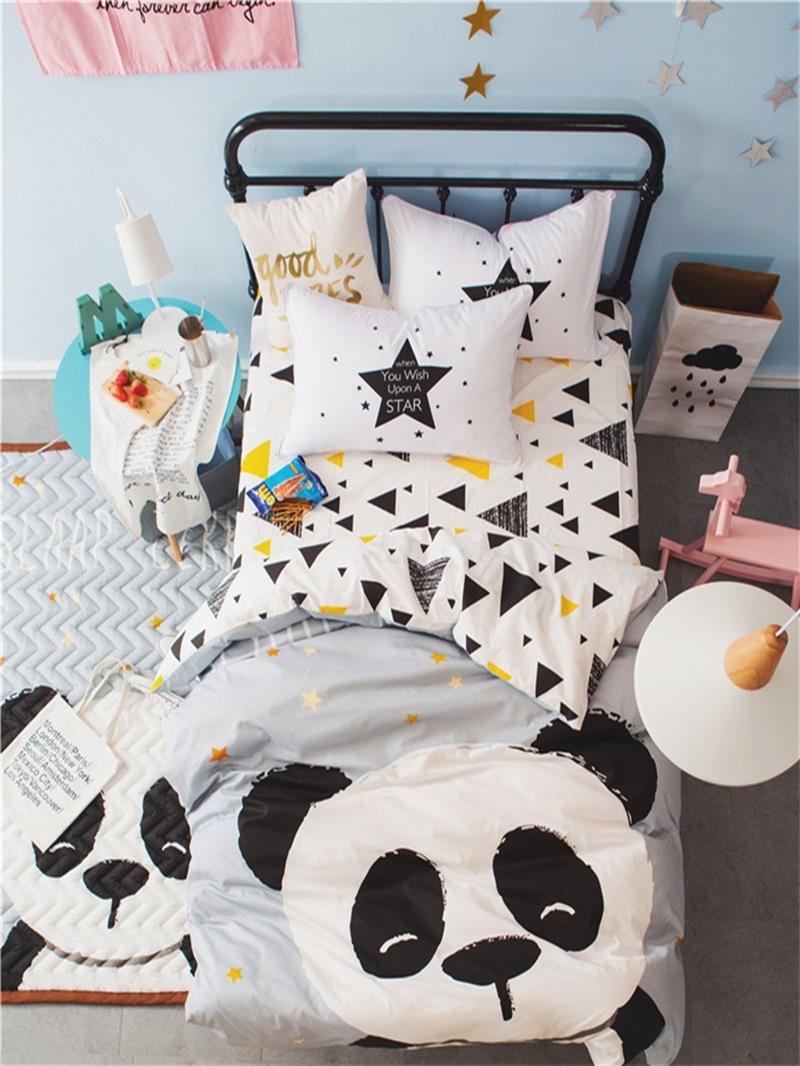 Vivilinen Panda Printed Cotton 3-Piece Gray Duvet Covers/Bedding Sets