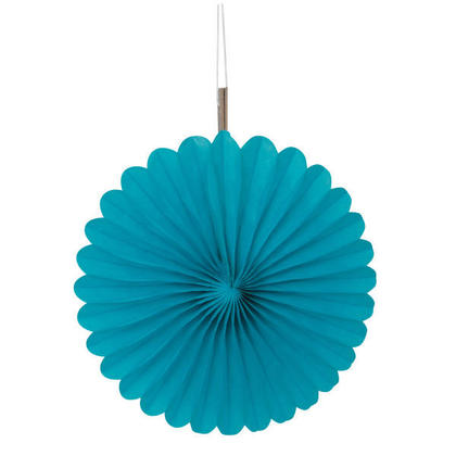 Solid Tissue Paper Fans for Party Decoration 6'' 3Pcs - Caribbean Teal
