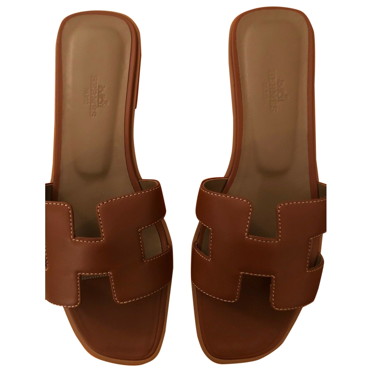 Hermès Oran Brown Leather Sandals for Women 39 EU