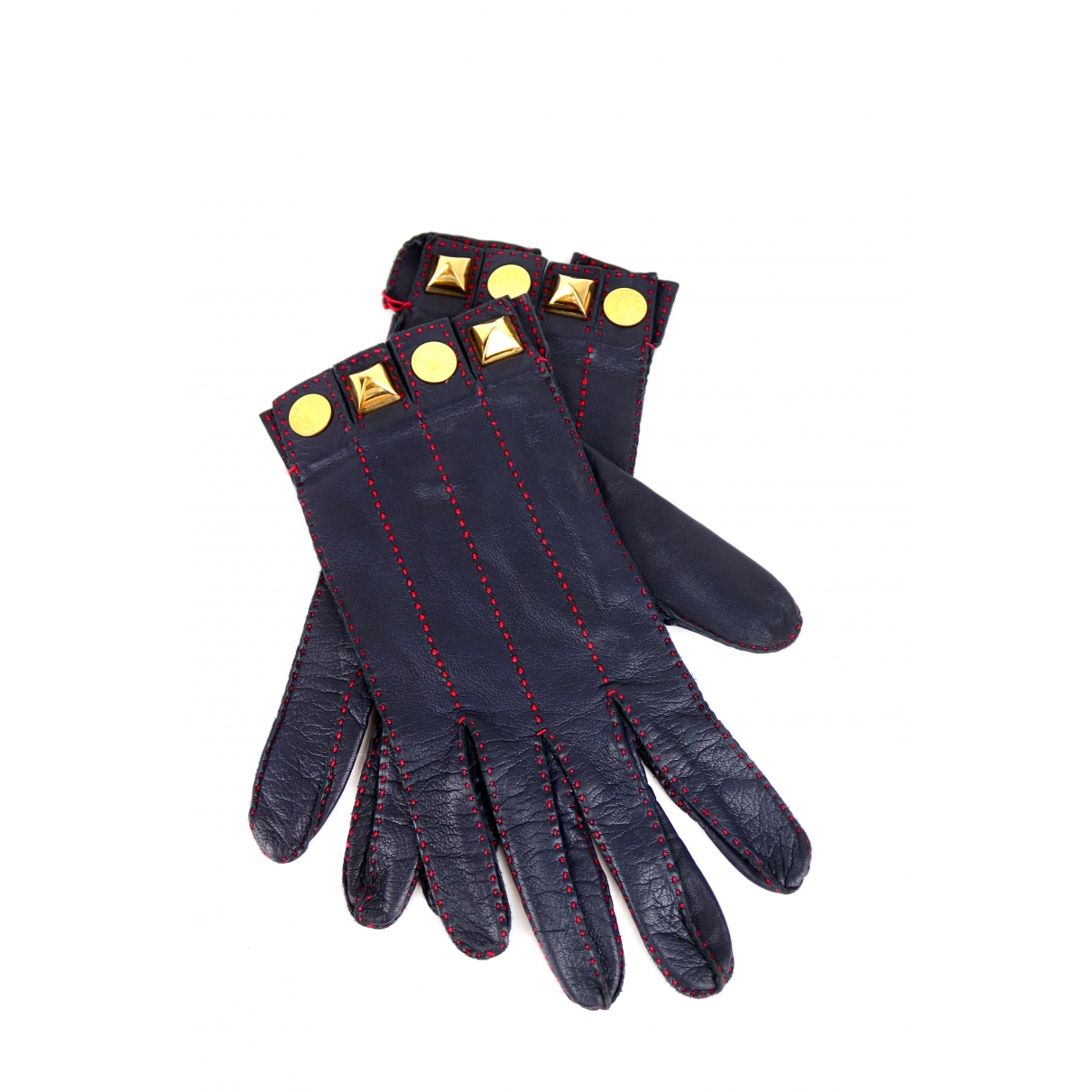 Hermès \N Blue Leather Gloves for Women 7.5 Inches