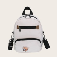 Girls Pocket Front Cartoon Graphic Backpack