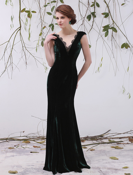Milanoo Glamour Dark Green A-line Lace Backless Velvet Bridal Mother Dress with V-Neck