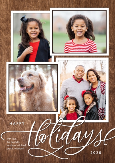 Christmas Photo Cards Flat Matte Photo Paper Cards with Envelopes, 5x7, Card & Stationery -2020 Holiday Gold Script Memories by Tumbalina