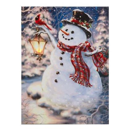 Oak Street Snowman Holding Lantern with Cardinal Winter LED Canvas Wall Art, 8