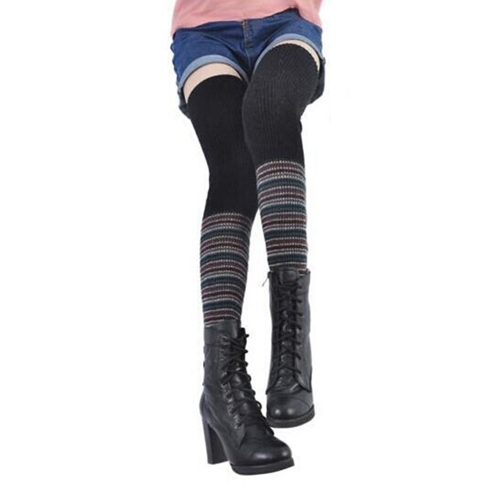 Women's Compression Socks Rainbow Splicing Long Socks Woolen Knit Over The Knee Stockings