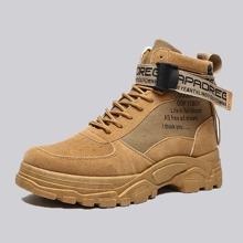 Men Lace-up Front Letter Graphic Combat Boots