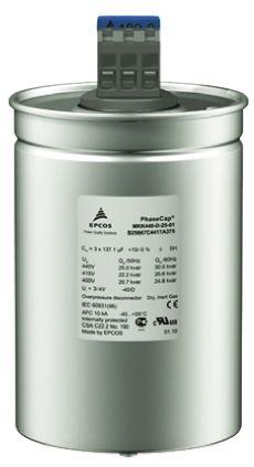 EPCOS 144μF Polypropylene Capacitor PP 440 V ac, 525 V ac -5 → +10% Tolerance B25667C Series
