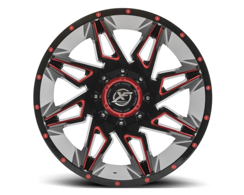 XF Off-Road XF-218 Wheel 20x9 5x127|5x139.7 12mm Gloss Black w/ Red Milling