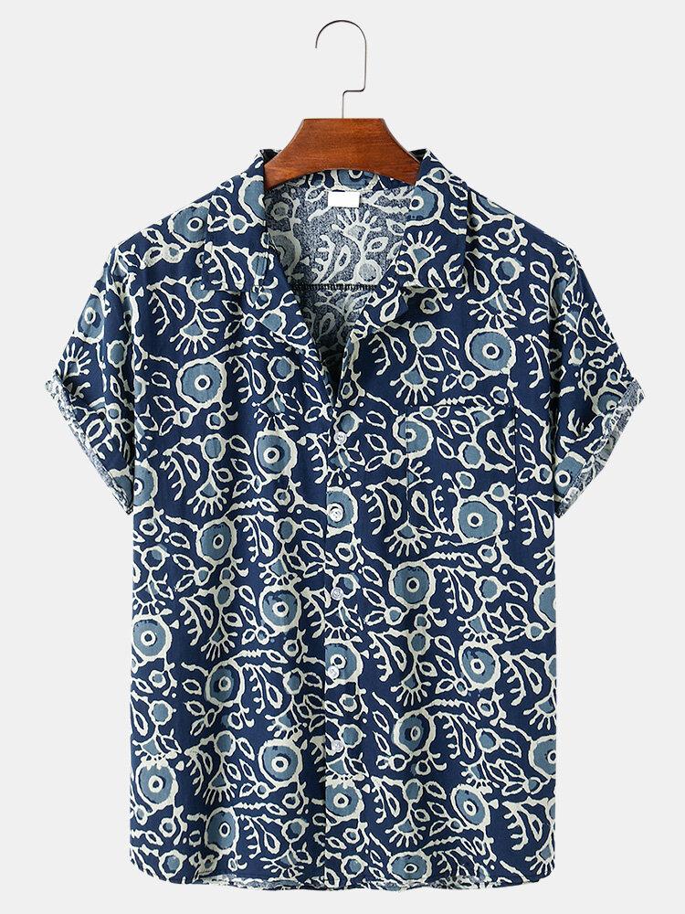 Mens Abstract Pattern Print Loose Casual Thin Short Sleeve Shirts