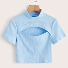 Ribbed Letter Print Cut Out Tee