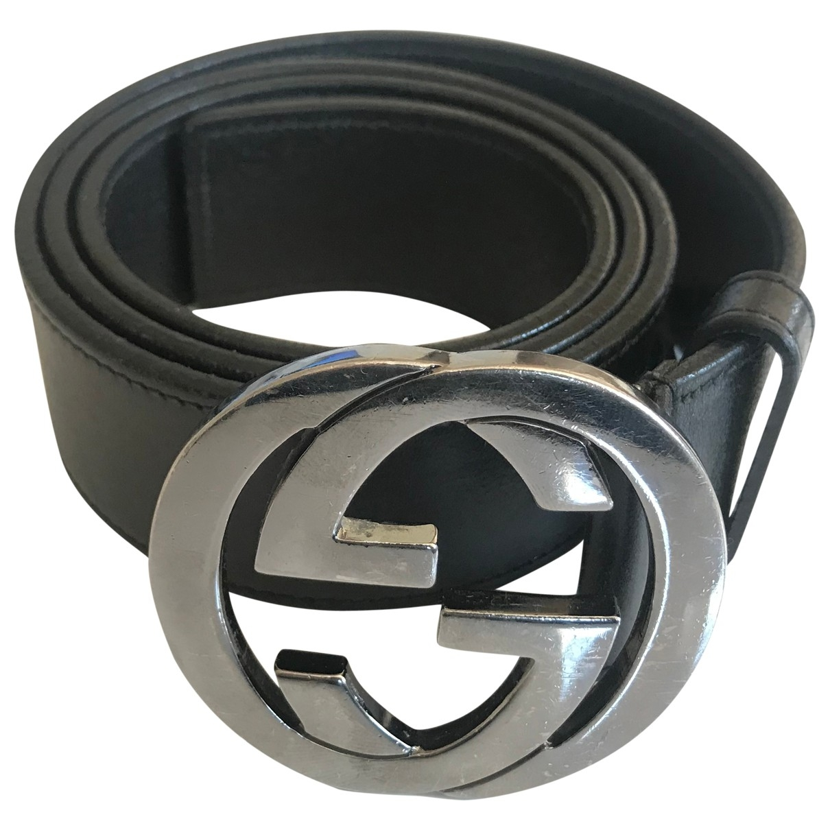 Gucci Interlocking Buckle Black Leather belt for Women 85 cm