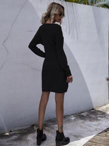 Knot Front Drop Shoulder Sweater Dress