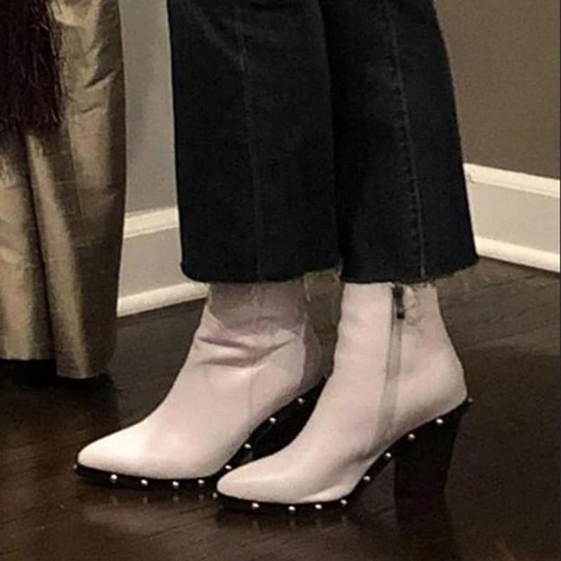 Ericdress Pointed Toe Side Zipper Chunky Heel Sweet Boots
