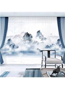 3D Printed Chinese Style Landscape Painting Decorative Sheer Curtains