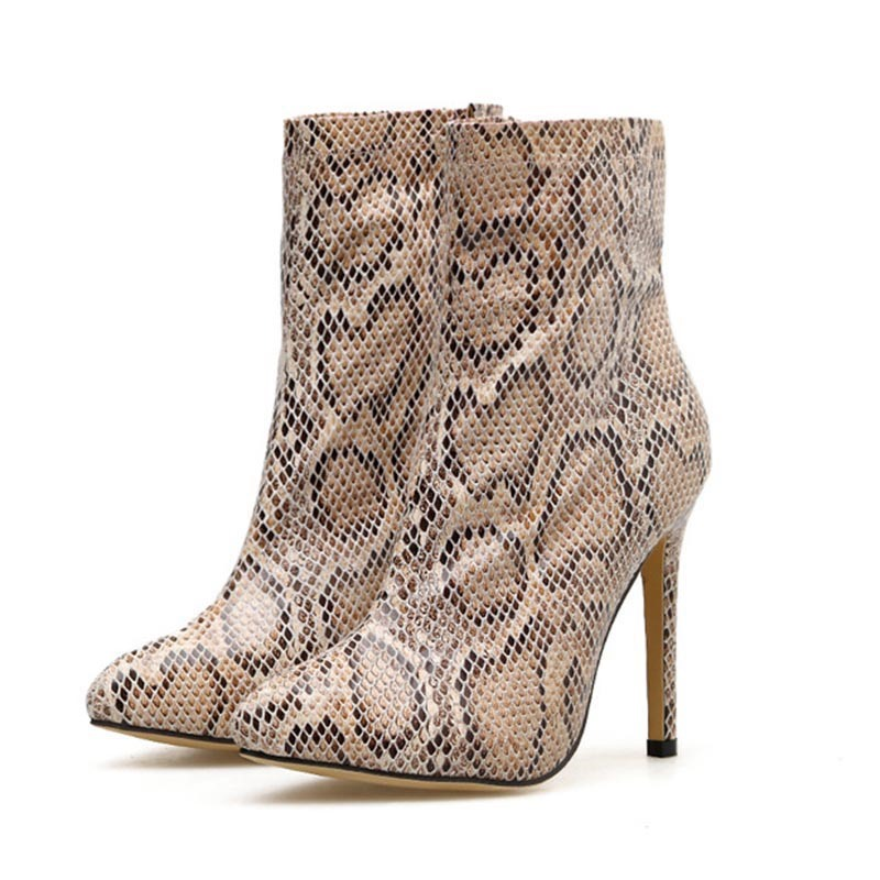 Ericdress Side Zipper Stiletto Heel Pointed Toe Serpentine Women's Ankle Boots