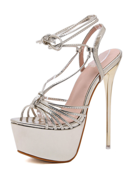 Milanoo Gold Sexy Shoes Women Platform Peep Toe Lace Up Stiletto Sandals High Heel Sandals