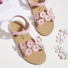 Toddler Girls Clear Floral Appliques Sandals