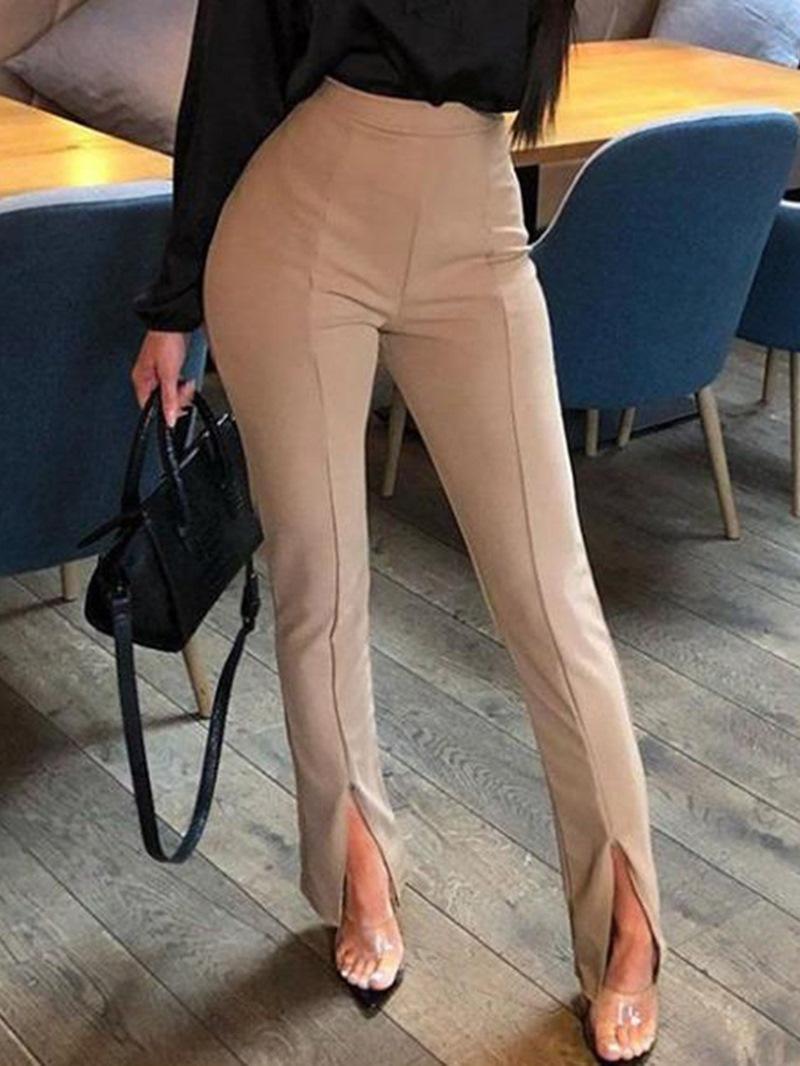 Ericdress Slim Plain Split Full Length High Waist Casual Pants